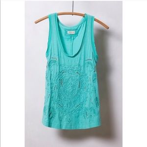 Meadow Rue Anthropologie Sequin Appliqué Top